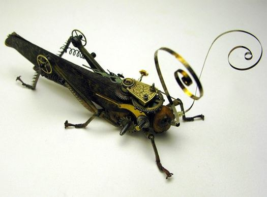 A steampunk sculpture by the Insect Lab that combines clockwork parts and a grasshopper body