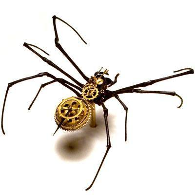 A steampunk spider sculpture that combines clockwork parts and natural anatomy by the Insect Lab