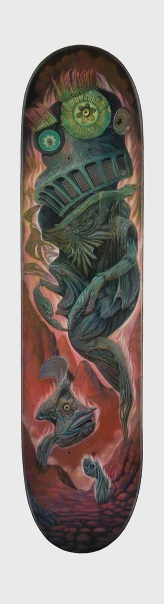 A trippy mixed media surrealist painting by David Ball for a skateboard deck sticker