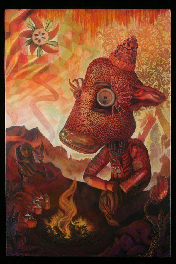 A trippy mixed media surrealist painting by David Ball of a beast and an old man beside a bonfire