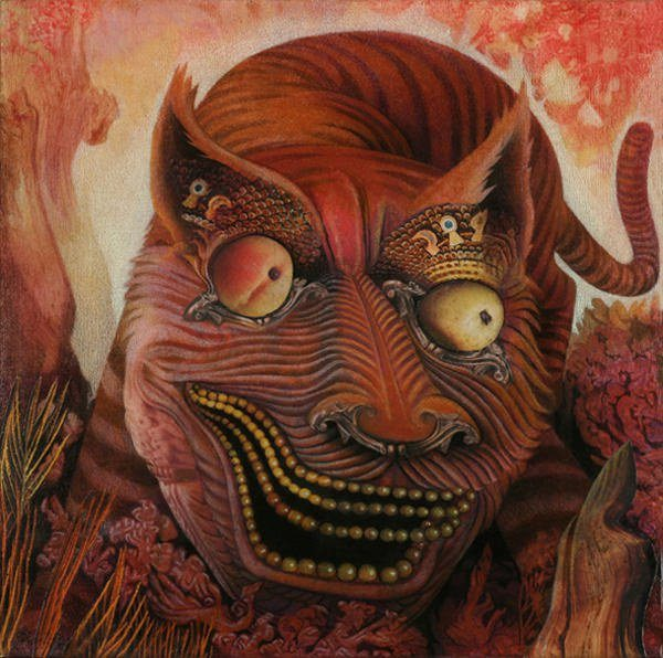 A trippy mixed media surrealist painting by David Ball of a cat creature with fruit for eyes