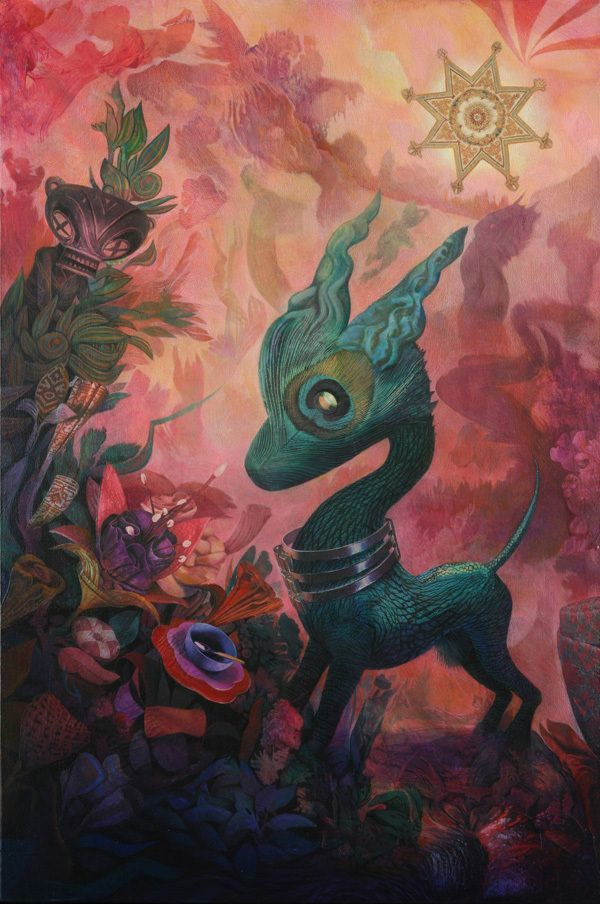 A trippy mixed media surrealist painting by David Ball of a deer with a peacock feather eye smelling flowers