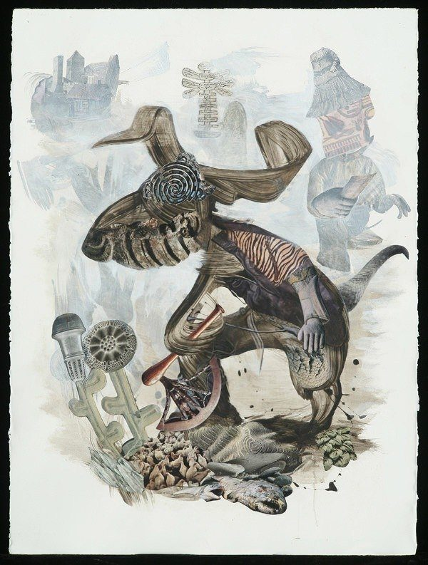 A trippy mixed media surrealist painting by David Ball of a dog rabbit holding an axe