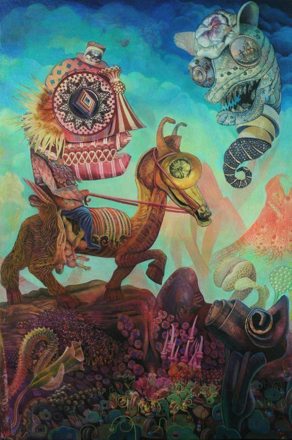 A trippy mixed media surrealist painting by David Ball of a llama carrying a guy over an alien mountain