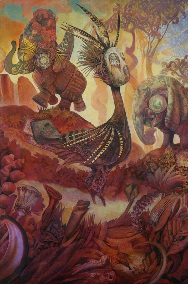 A trippy mixed media surrealist painting by David Ball of birds and elephants in an alien world