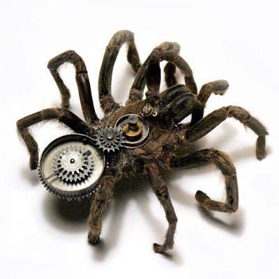 An Insect Lab steampunk sculpture that combines the body of a spidr with clockwork parts