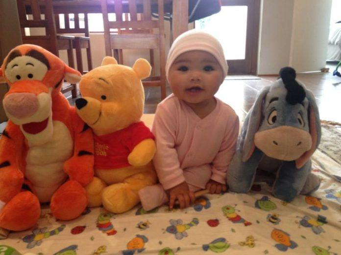 An adorable picture of baby Anna as Piglet with Winnie the Pooh, Eeyore and Tigger