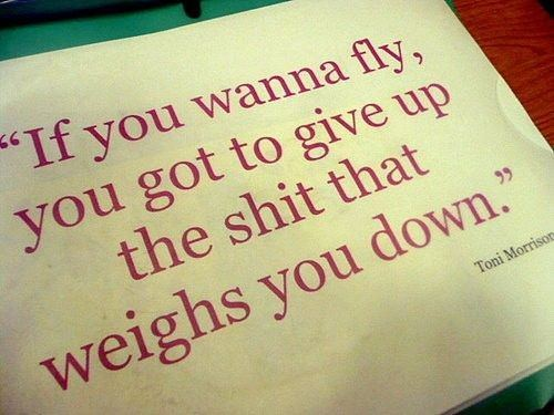An inspirational picture quote that reads If you wanna fly you got to give up the shit that weighs you down