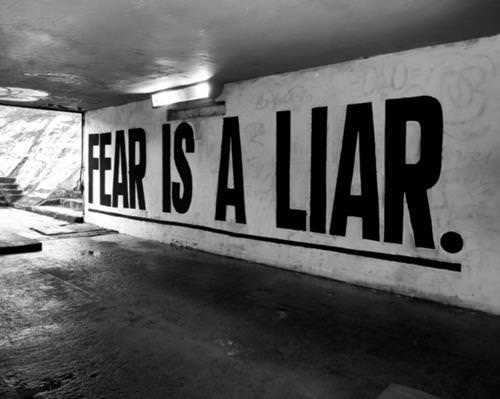An inspirational picture quote that states that Fear is a Liar