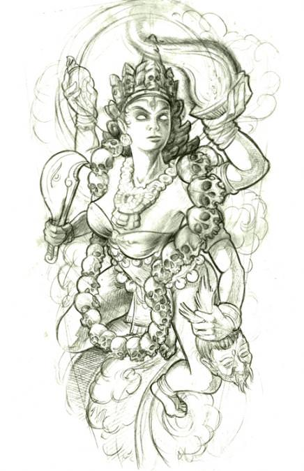 A Hindu goddess wears a necklace of skulls in this tattoo sketch by Jee Sayalero