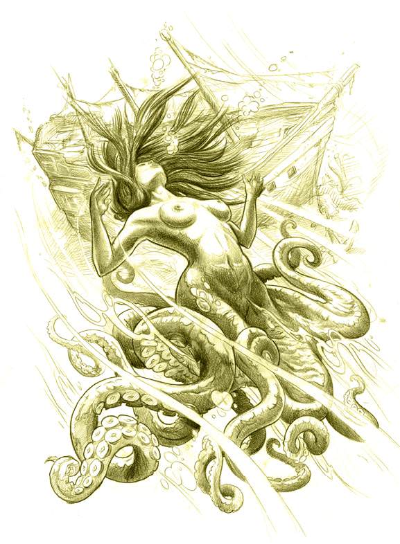 A beautiful fantasy tattoo sketch by Jee Sayalero of mermaid with tentacles