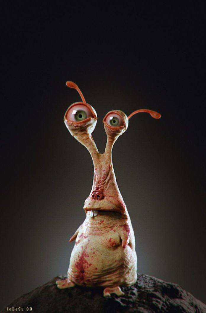 A funny sluglike creature poses in this realistic 3D character design by Joel Bernt Sundberg