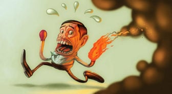 A matchstick man runs away from his flaming hand in this funny painting by Joel Bernt Sundberg