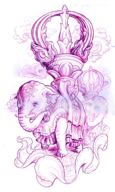 A new school fantasy tattoo sketch by Jee Sayalero of an elephant carrying a crown