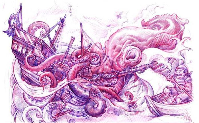 A pirate watches a sea monster eat his ship in this new school tattoo sketch by Jee Sayalero