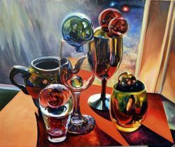 A psychedelic surrealism painting by Robert Treece of a glassware still life