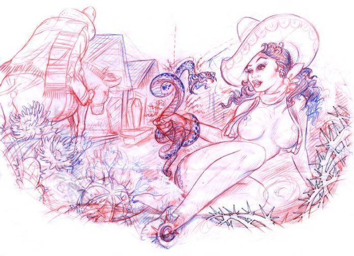 A sexy cowgirl pin up tattoo sketch by Jee Sayalero