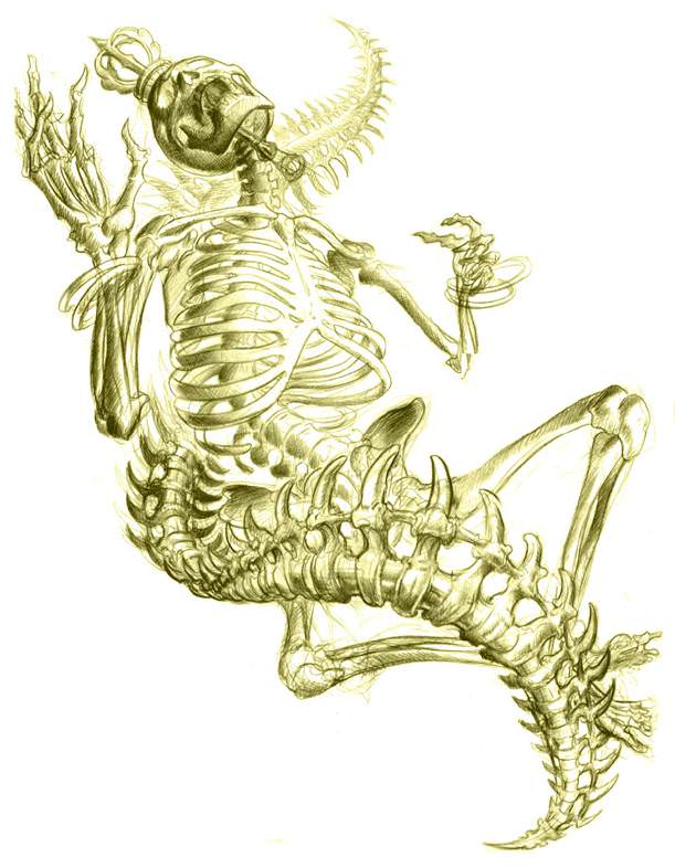 A skeleton dances with a snake spine in this tattoo sketch by Jee Sayalero