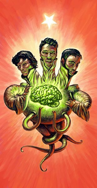 A strange 3 headed character holds aa brain in this strange painting by Joel Bernt Sundberg