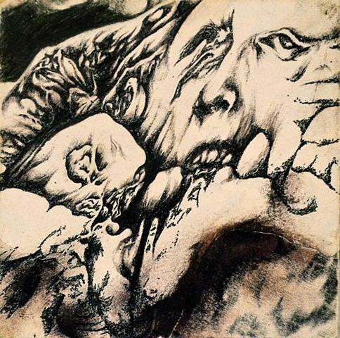 A surrealist portrait sketch by Robert Treece