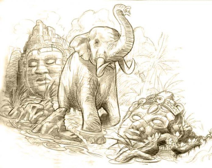 An elephant wades through the ruins of an ancient temple in this tattoo sketch by Jee Sayalero