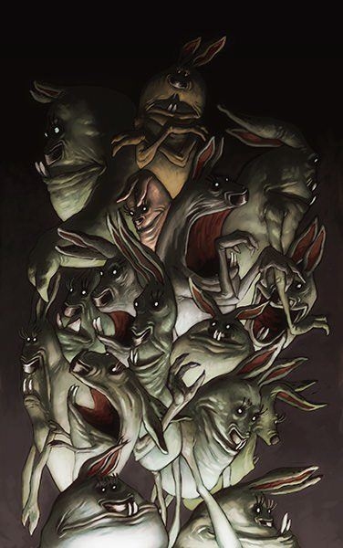 Easter meets halloween in this dark and twisted painting by Joel Bernt Sundberg
