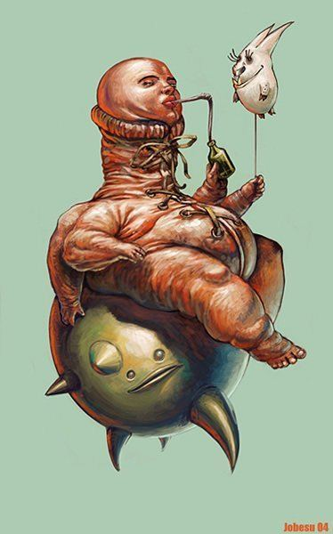 Twisted and funny painting by Joel Bernt Sundberg of a humanoid character holding a bunny balloon