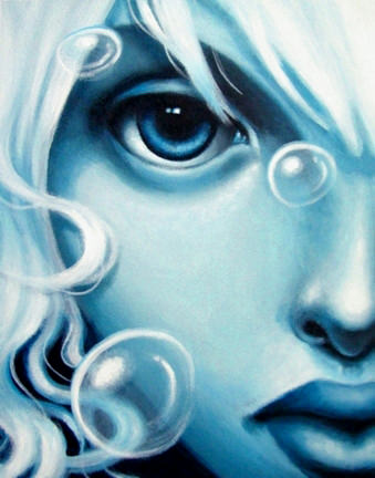 A beautiful girl is surrounded by bubbles in this painting by Sarah Joncas