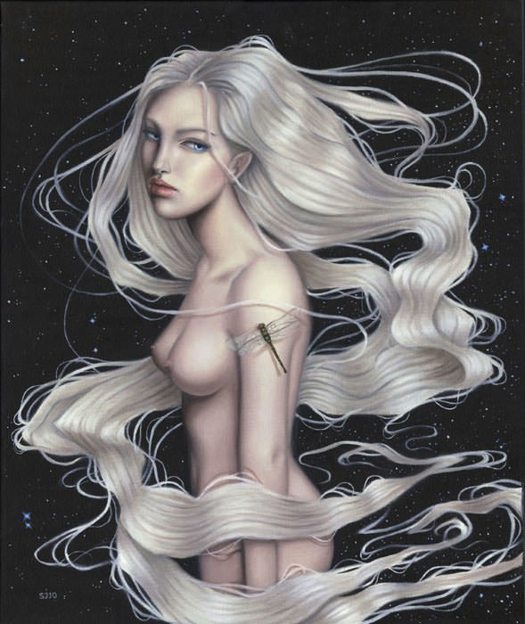A beautiful girl is surrounded by long ribbons of her hair in this painting by Sarah Joncas