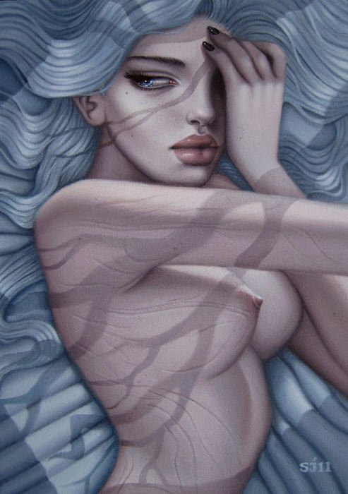 A beautiful girl lies in bed in this painting by Sarah Joncas