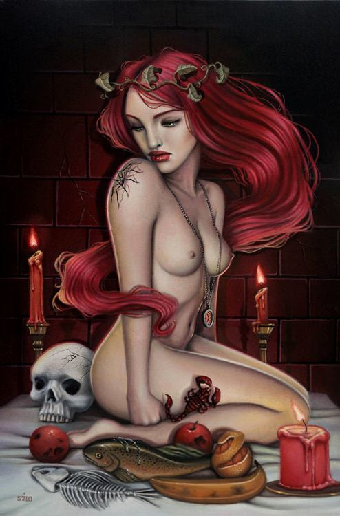 A beautiful redhead girl poses nude with sinister objects in this painting by Sarah Joncas
