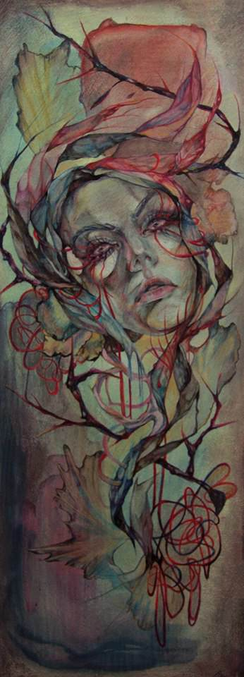 A beautiful woman is caught in confusing abstract thoughts and shapes in this painting by Shann Larsson