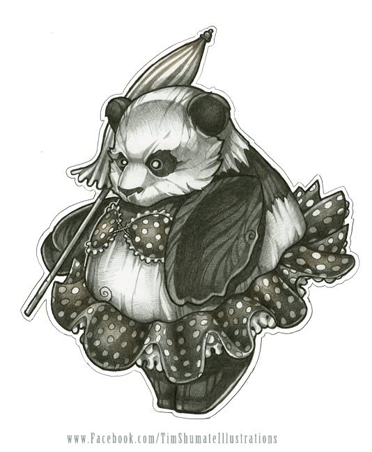 A chubby panda in a bathing suit carries an umbrella in this cute illustration by Tim Shumate