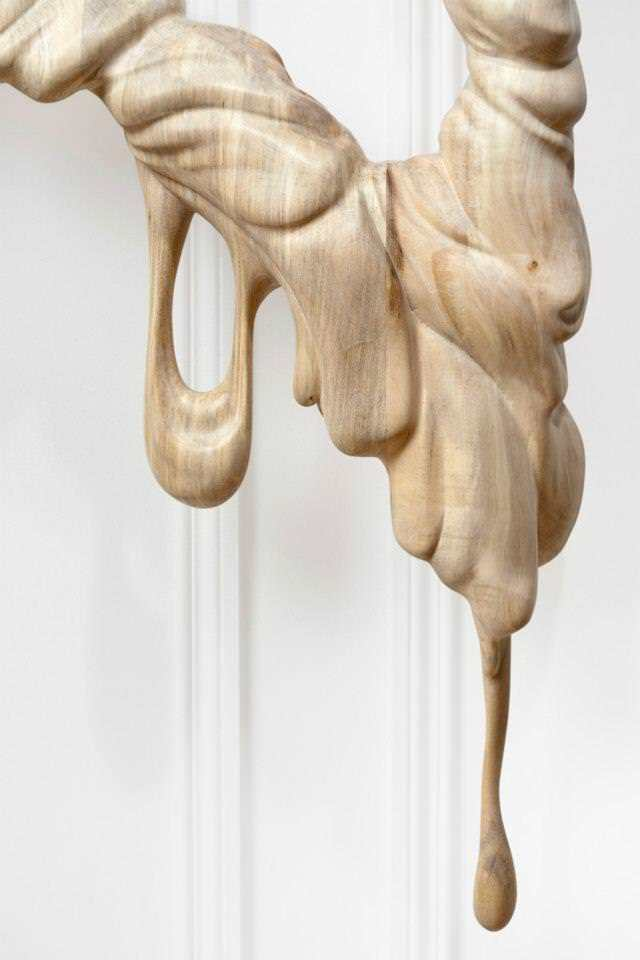 A close up photograph of one of the Bonsoir Paris melting wood sculptures