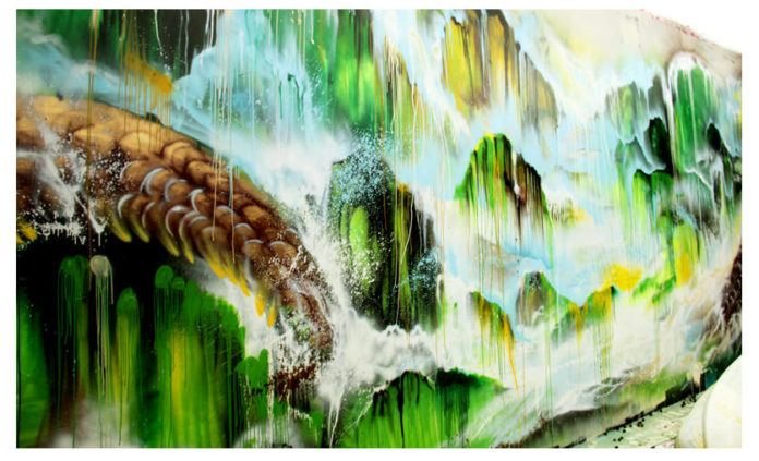 A closer look at the effects that Hua Tunan creates in his abstract graffiti art