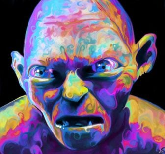 A colorful and trippy makeover painting of Gollum by Nicky Barkla