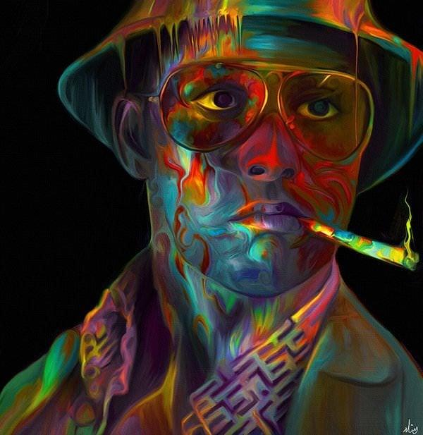 A colorful fan art painting of Johnny Depp by Nicky Barkla