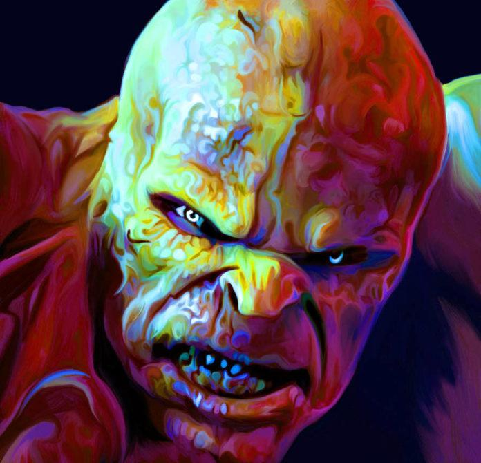 A colorful painting by Nicky Barkla called The Creature