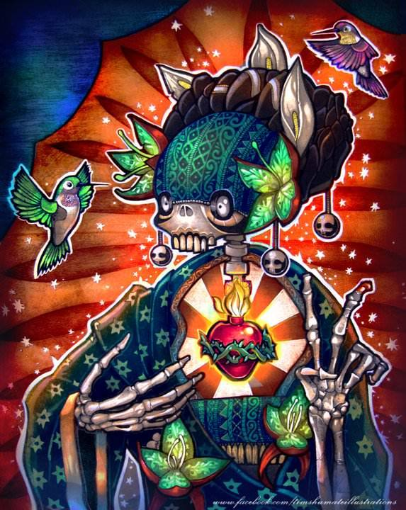 A creative digital paintng by Tim Shumate of a skeleton, burning heart and hummingbirds
