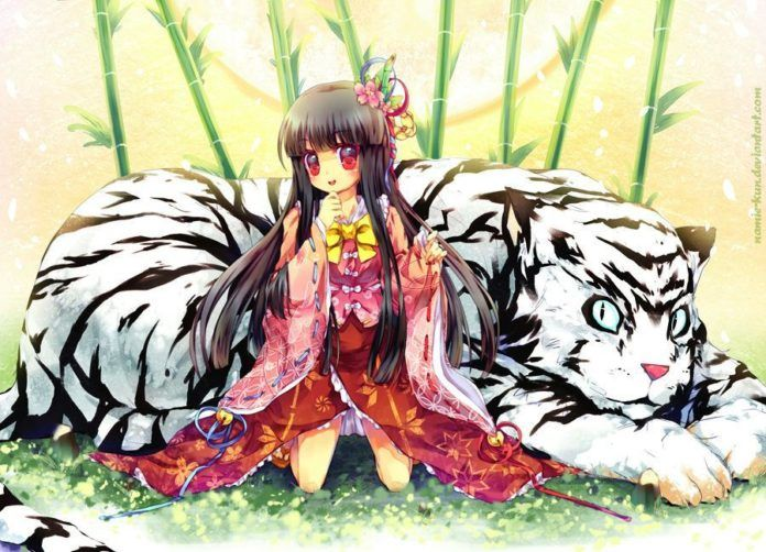 A cute Asian manga character poses with a white tiger in this Photoshop painting by Namie-kun