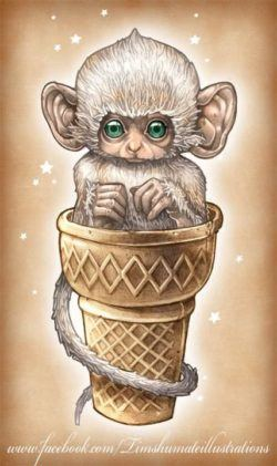 A cute monkey sits in an ice cream cone in this illustration by Tim Shumate