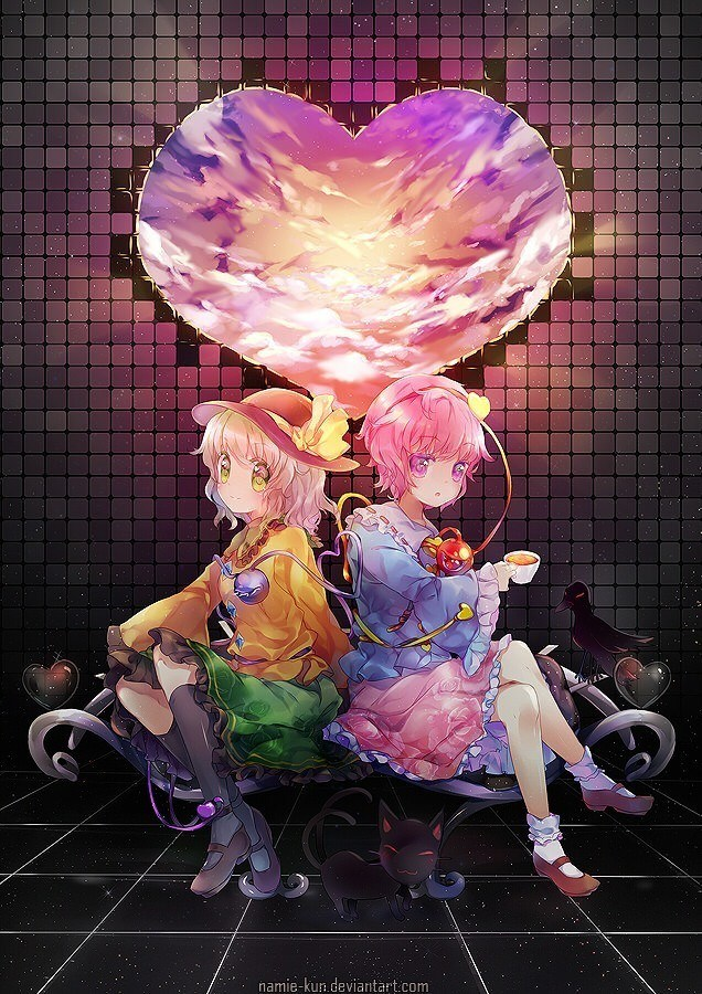 A cute photoshop painting by Namie-kun of two manga girls in love with the world