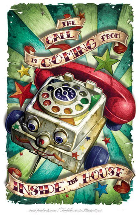 A cute poster painting by Tim Shumate of a kids toy telephone