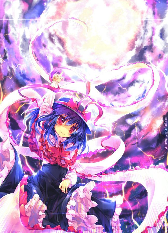 A cute yet powerful manga girl calls thunder and lightning from the heavens in this Photoshop painting by Namie-kun