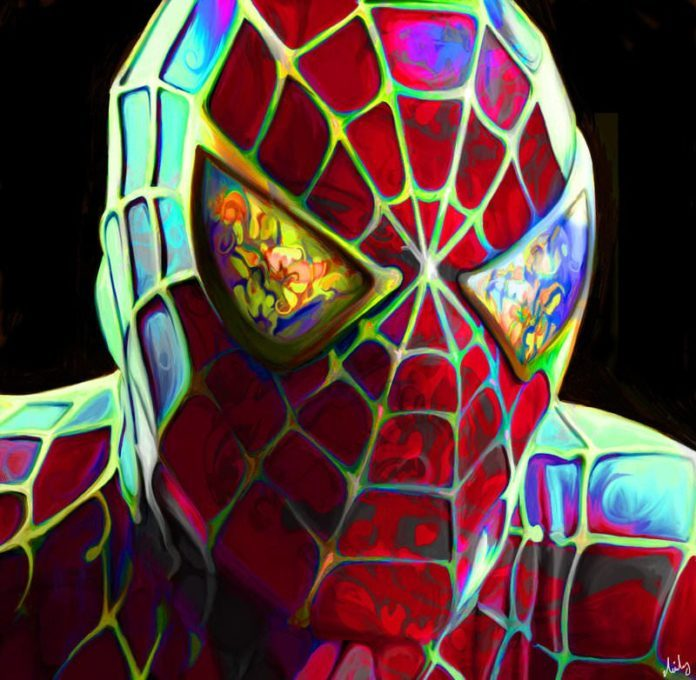 A fan art painting of Spiderman with a colorful twist by Nicky Barkla