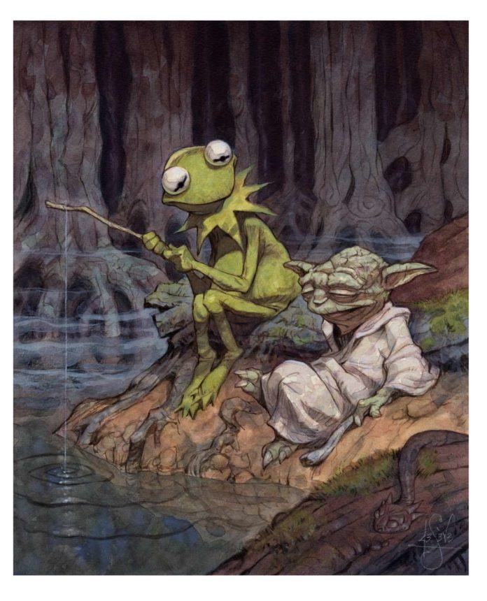 A funny fan art illustration by Peter de Seve of Kermit and Yoda fishing