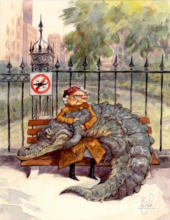 A funny illustration by Peter de Seve f an old lady with an alligator on her lap