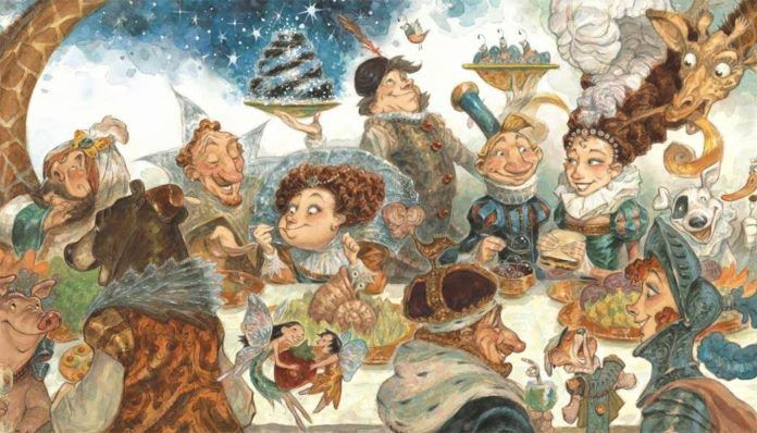 A funny illustration by Peter de Seve of a fairy tale feast