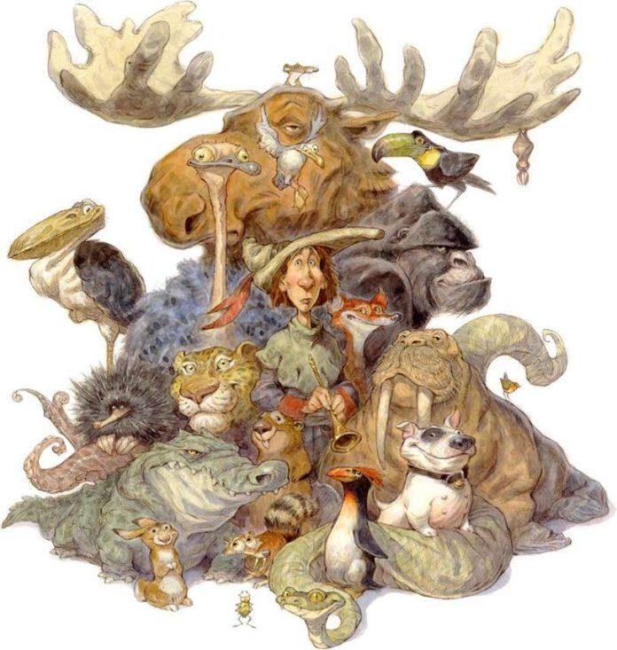A funny illustration by Peter de Seve of a man surrounded by humorous animals