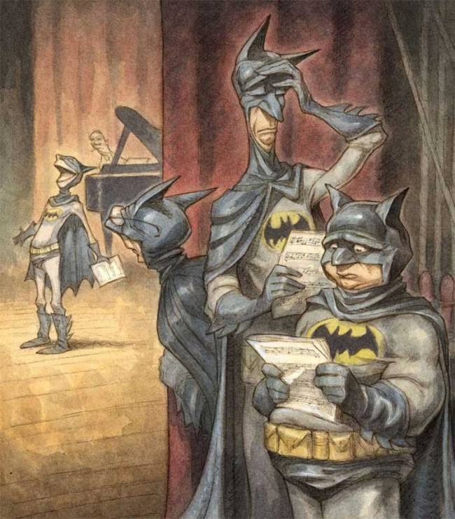 A funny illustration by Peter de Seve of actors auditioning for Batman the Musical